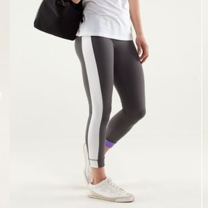 Lululemon Amped Crop Leggings Gray Purple White